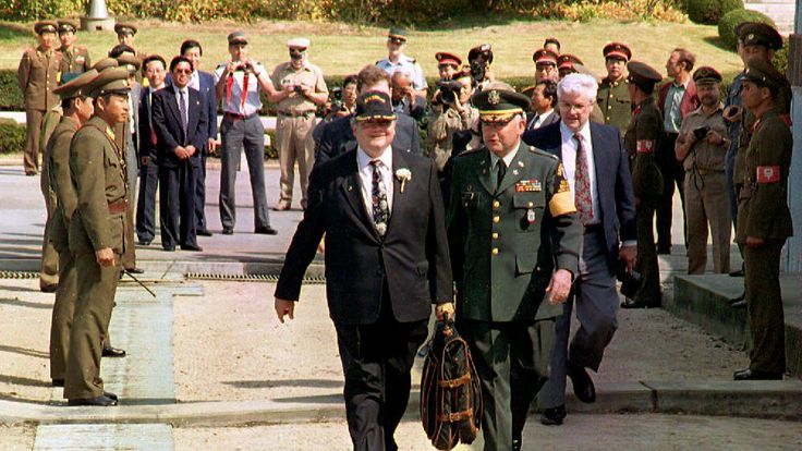 US Congressman Gary Ackerman is escorted into S Korea from the North after talks with Kim Il Sung in 1993