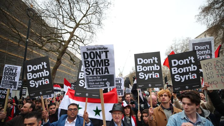 A protest by Stop the War Coalition in Whitehall