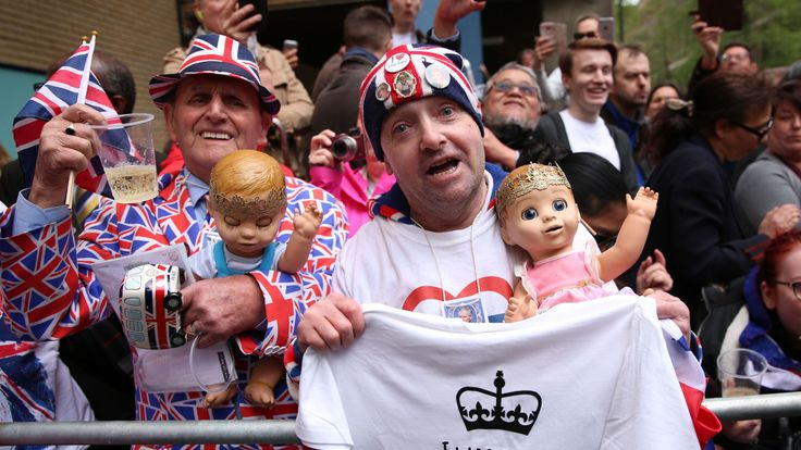 Royalists wait for news outside St Mary's Hospital in London