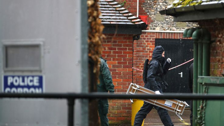 Police continue to work at the site of the Salisbury attack