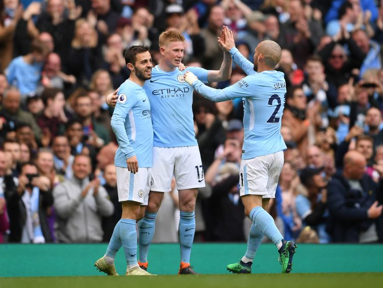 Kevin De Bruyne is congratulated after his sensational strike puts Man City 3-0 ahead