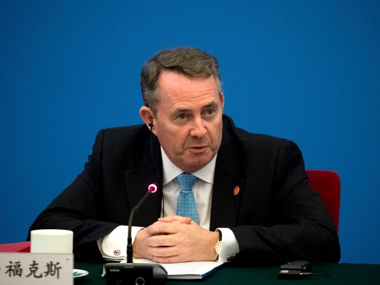 International Trade Secretary Liam Fox during a visit to China in January