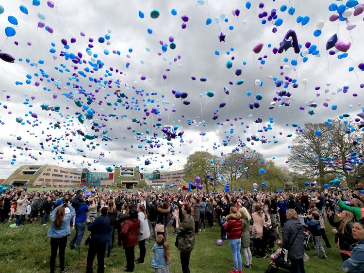 People release balloons outside Alder Hey Children's Hospital in Liverpool