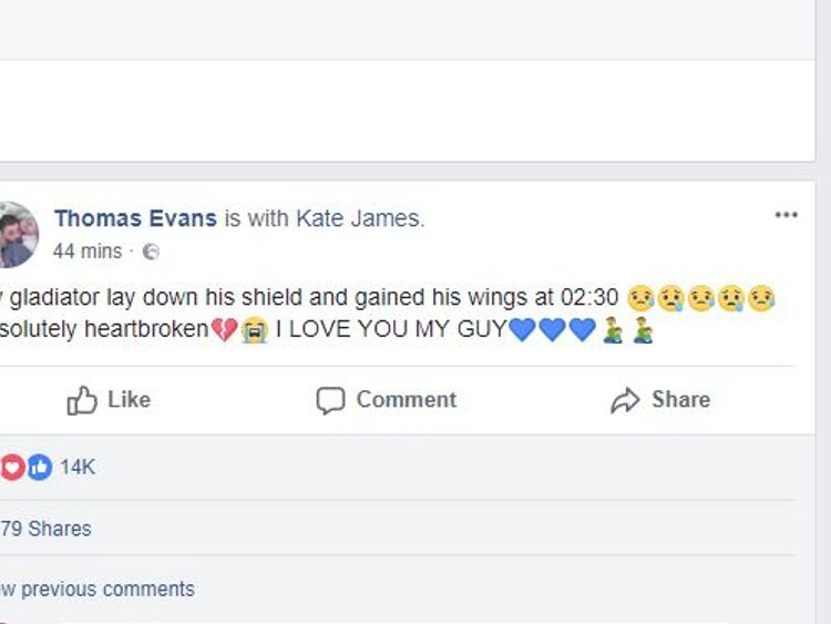 Tom Evans Facebook post announcing the death of his son