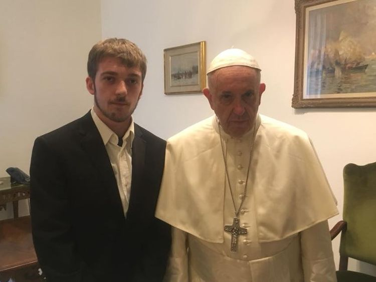Thomas Evans with the Pope. Pic: Facebook