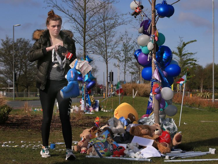 Tributes and flowers outside Alder Hey Hospital in memory of Alfie Evans