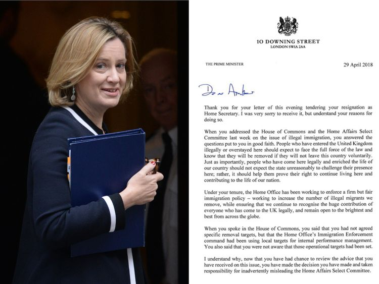 Theresa May's letter accepting Amber Rudd's resignation