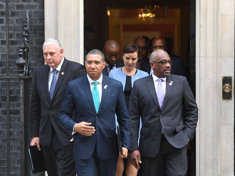 Jamaica prime minister Andrew Holness leaves 10 Downing Street after the meeting with Theresa May
