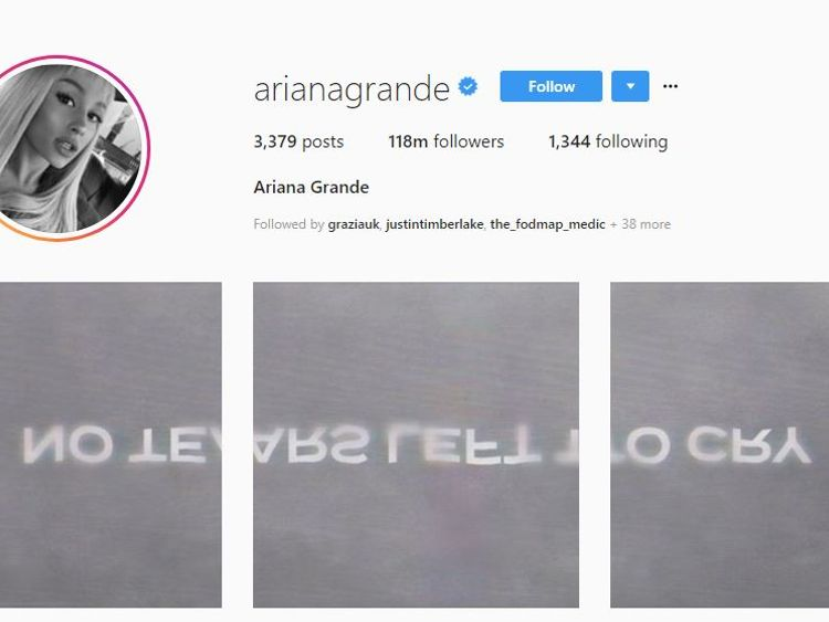 Ariana Grande left cryptic messages on Instagram and Twitter hinting at a new song. Pic: Ariana Grande/Instagram