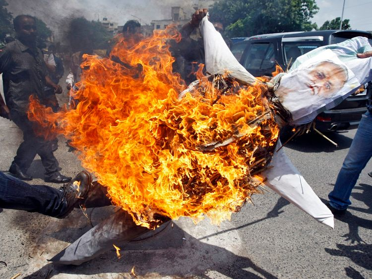 Protesters burn an effigy of Asaram Bapu in the west Indian city of Ahmedabad in 2013