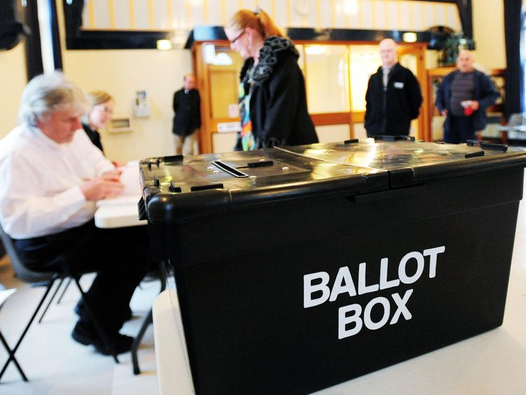 UK polling station and ballot box