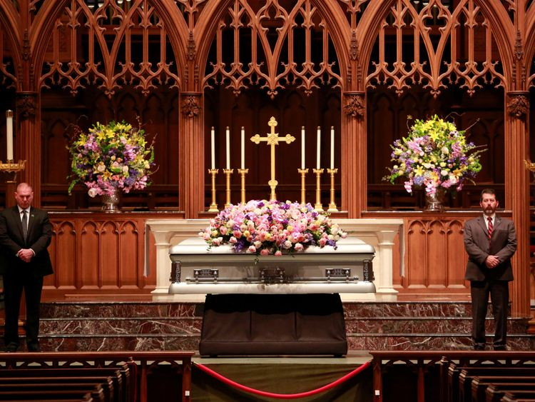 Former U.S. first lady Barbara Bush, the wife of the 41st president, George H.W. Bush, and mother of the 43rd, George W. Bush, lies in repose at St. Martin's Episcopal Church in Houston, Texas