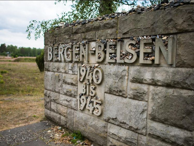 A sign at the site of the Bergen Belsen concentration camp in Lower Saxony