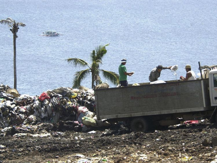 Rubbish on a hillside in the central Philippine resort island of Boracay