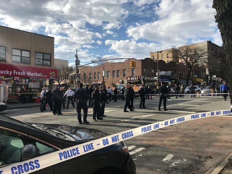 Police at the scene in Crown Heights, Brooklyn