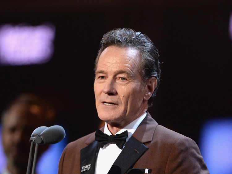 LONDON, ENGLAND - APRIL 08: Bryan Cranston receives the award for Best Actor for 'Network' on stage during The Olivier Awards with Mastercard at Royal Albert Hall on April 8, 2018 in London, England. (Photo by Jeff Spicer/Getty Images)