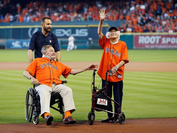 Former President George H.W. Bush and former First Lady Barbara Bush are introduced prior to game three of the American League Division Series between the Houston Astros and the Kansas City Royals at Minute Maid Park on October 11, 2015 in Houston, Texas