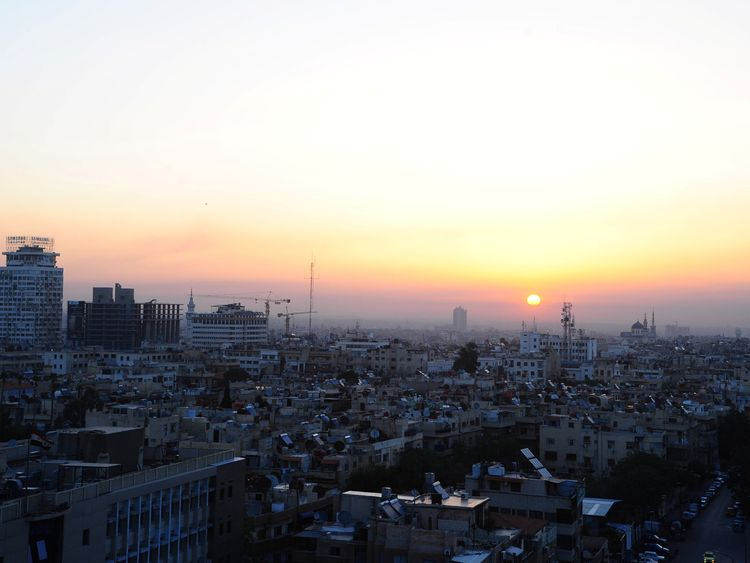Sunrise in Damascus following a night of airstrikes in Syria by the US, UK and France