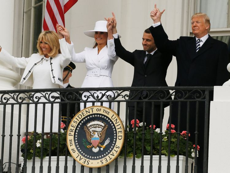 Donald Trump, first lady Melania Trump and French President Emmanuel Macron and his wife Brigitte