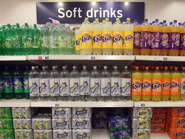 General view of soft drinks on supermarket shelving in London after a report from the food and farming charity Sustain said that sugary drinks should be subject to a new tax that could add 20p per litre to their price, with the proceeds going towards child health.