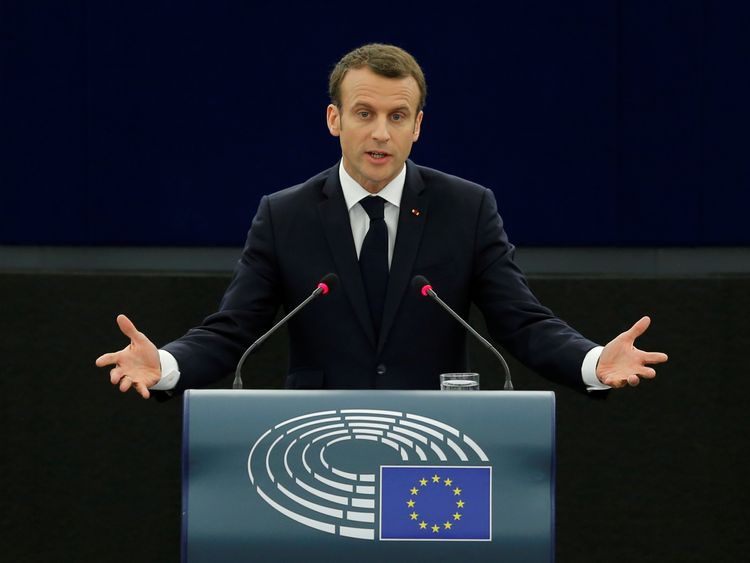 French President Emmanuel Macron delivers a speech at the European Parliament in Strasbourg
