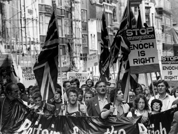 An anti-Asian demonstration in 1972 in favour of Enoch Powell's speech