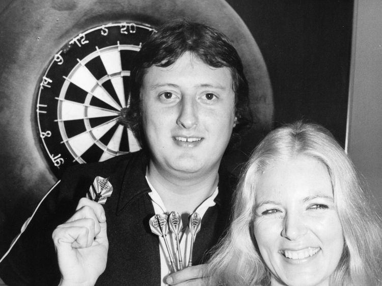 Eric Bristow with fellow darts player Maureen Flowers in 1983, who was his partner at the time