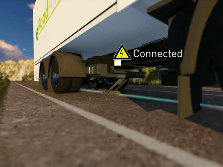 The eRoadArlanda project sees a moveable arm connect the vehicle to a rail mounted in the road. Credit: eRoadArlanda
