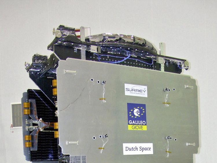 Baikonur, KAZAKHSTAN: (FILES) -- A file photo taken 15 December 2005 shows Europe's global navigation satellite system Galileo on display in the workshop of the Baikonur cosmodrome. The European Commission warned 15 March 2007 that it will examine new ways to complete the Galileo satellite navigation system after the project stalled amid doubts about profitibility. The system, worth around 1.5 billion euros (1.95 billion dollars) and meant to be in space in 2010, is aimed at breaking Europe's de