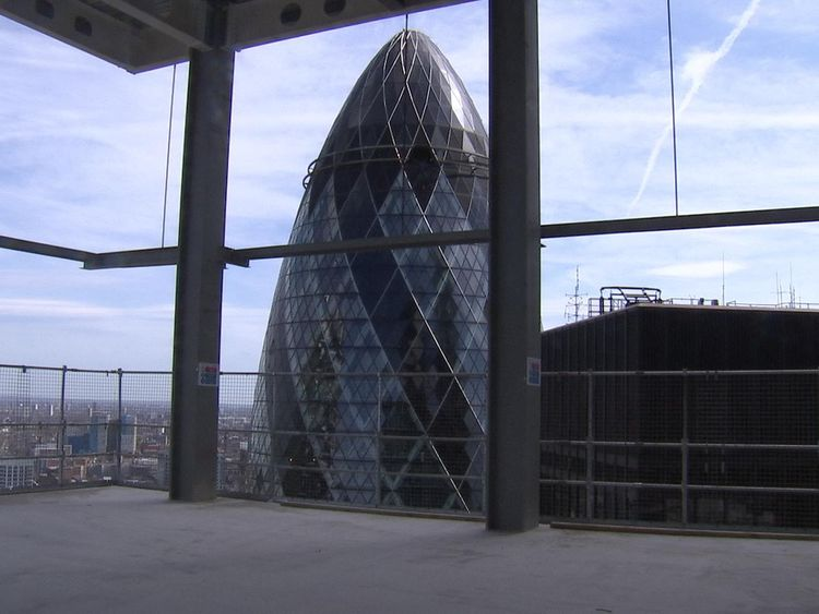 A view of the Gherkin from the 26th floor of Twentytwo