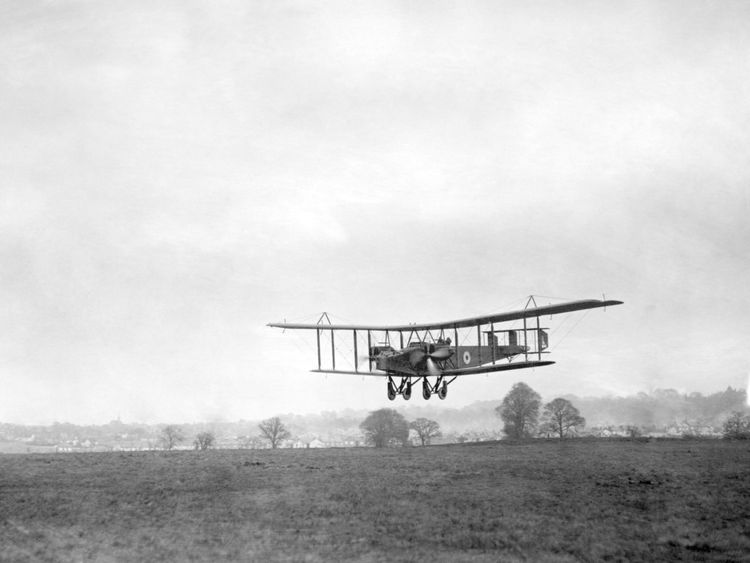 File photo dated 01/11/1918 of Handley Page 0/400 landing at RAF Andover, Hampshire, as the RAF celebrates its centenary on Sunday.