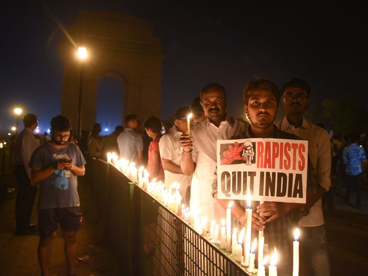 A candlelight protest over the gang rape and murder of an eight-year-old girl in New Delhi
