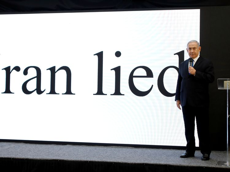 Israeli Prime minister Benjamin Netanyahu speaks during a news conference at the Ministry of Defence in Tel Aviv, Israel April 30, 2018