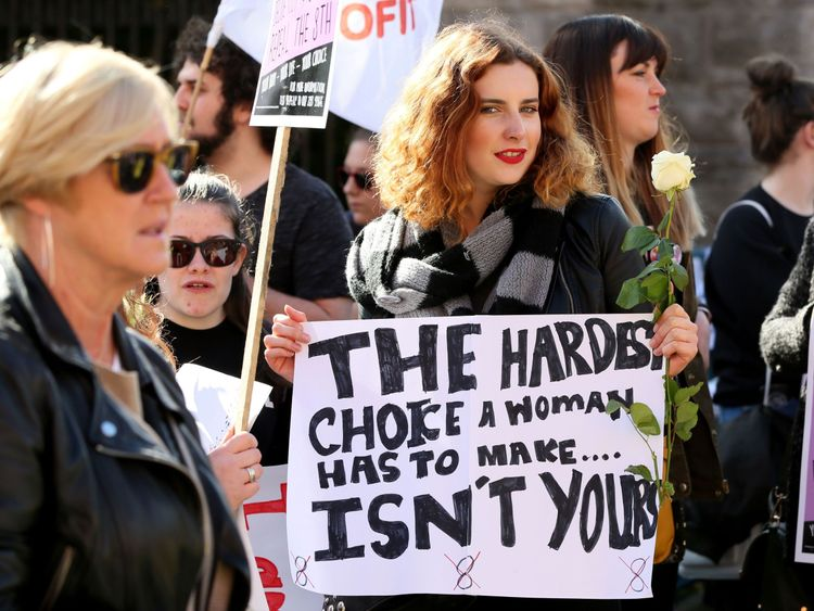Protesters hold up placards as they take part in the March for Choice, calling for the legalising of abortion in Ireland after the referendum announcement, in Dublin on September 30, 2017. Tens of thousands are expected at a rally for abortion rights in Dublin on September 30, campaigning on one side of a fierce debate after Ireland announced it will hold a referendum on the issue next year. / AFP PHOTO / Paul FAITH (Photo credit should read PAUL FAITH/AFP/Getty Images)