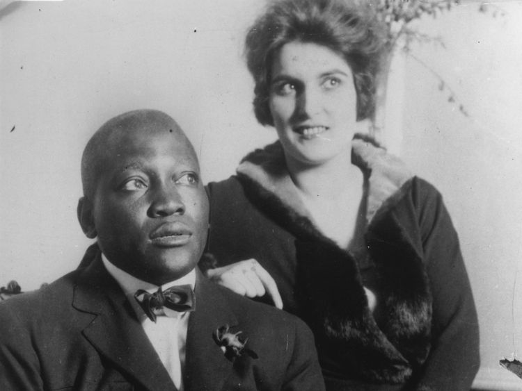 American boxer, Jack Johnson (1878-1946) with his wife
