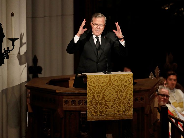 Former Florida Governor Jeb Bush speaks during the eulogy at funeral service for his mother, former first lady Barbara Bush at St. Martin's Episcopal Church in Houston