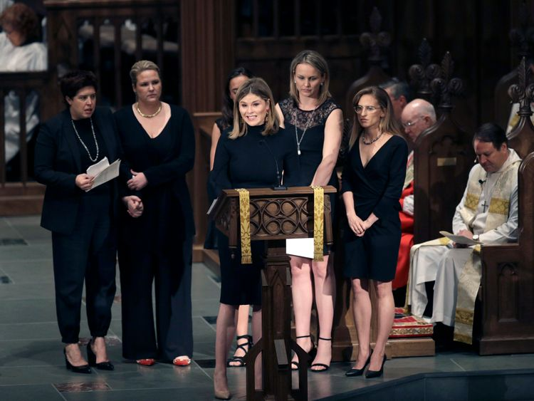 Jenna Bush Hager speaks during a funeral service for her grandmother, former first lady Barbara Bush at St. Martin's Episcopal Church April 21, 2018 in Houston, Texas