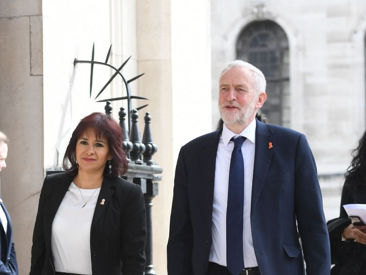Labour Party leader Jeremy Corbyn and his wife Laura Alvarez paid their respects at the memorial service at St Martin-in-the-Fields