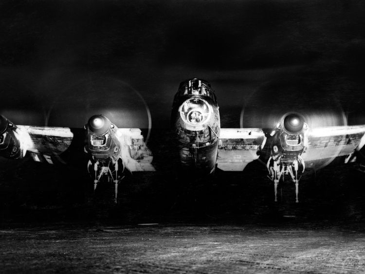 Undated handout photo issued by The Ministry of Defence of Avro Lancaster B.I, (R5729/KM-A), of 44 Squadron running up its engines in a dispersal at Dunholme Lodge, Lincolnshire, before setting out on a night raid to Berlin in early January 1944, as a collection of images capturing the development of the RAF across the decades has been released by the MoD to mark the centenary of the worldÕs first independent air force