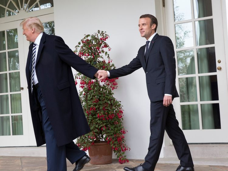 "Mr Trump spoke of the ""unity, fraternity and friendship"" between France and the US"