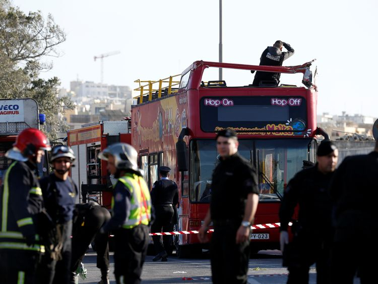 The open top tourist bus smashed into a low hanging tree branch in Zurrieq