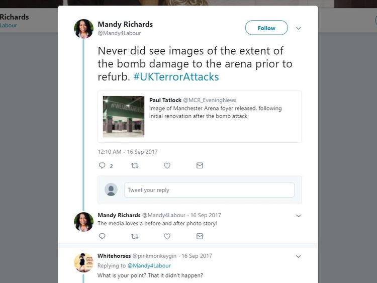 A tweet and thread by Mandy Richards on damage left by the Manchester terror attack