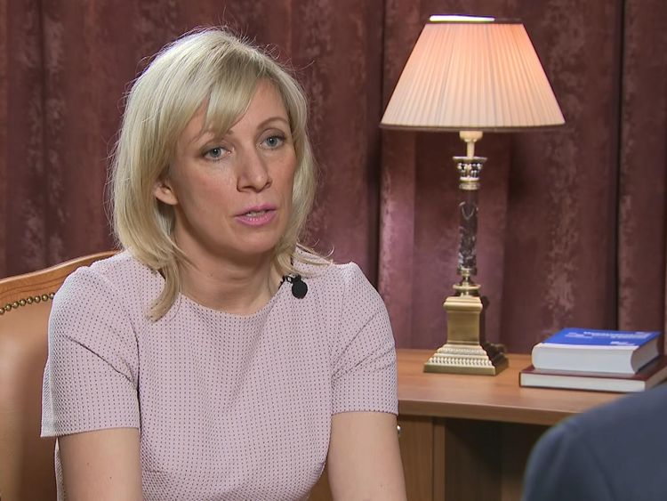 Maria Zakharova spoke to Sky News in Moscow