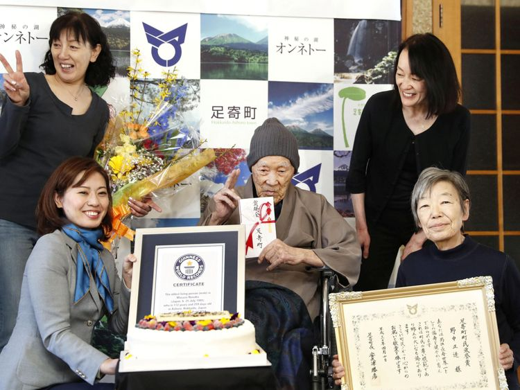 World's oldest man revealed as 112-year-old Masazo Nonaka Sky News Masazo with his family as he receives the Guinness World Records certificate