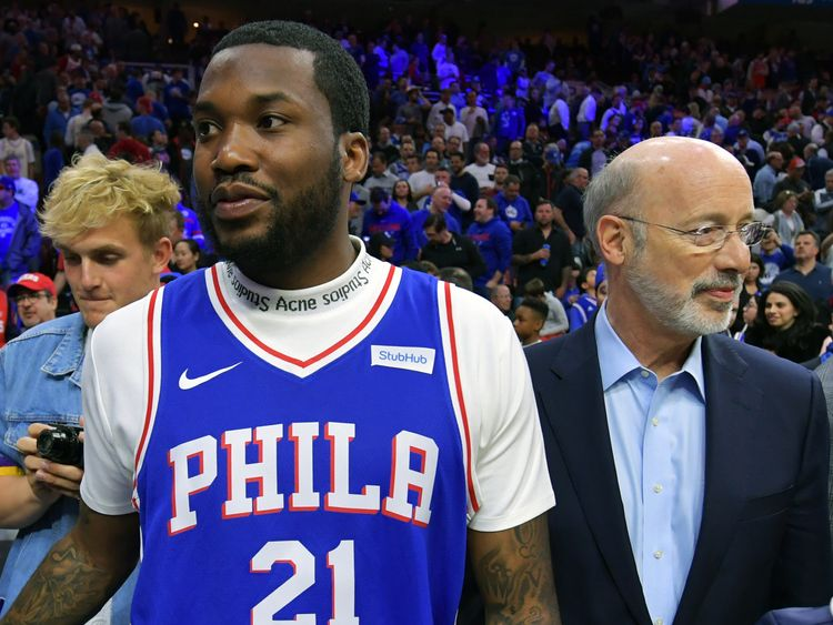 Meek Mill attends NBA game hours after jail release