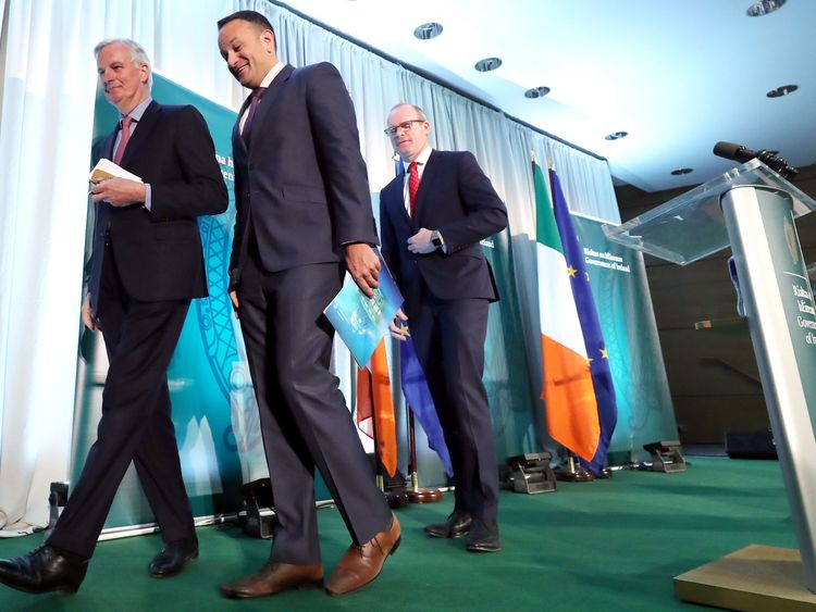 Michel Barnier (left), held a press conference with Taoiseach Leo Varadkar (centre) and deputy Simon Coveney