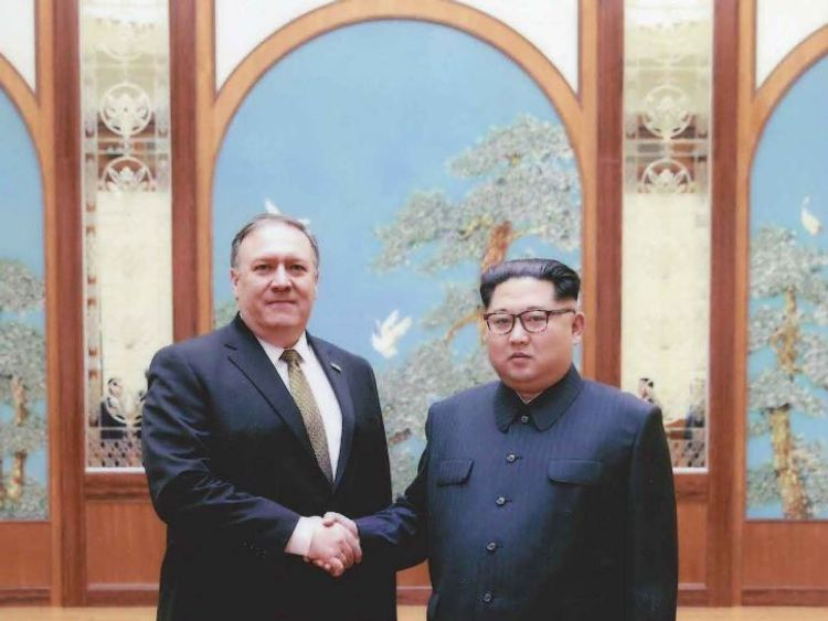 Mike Pompeo met in secret with Kim Jong-Un over Easter. Credit Sarah Sanders/Twitter