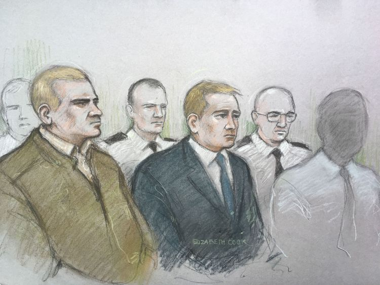 Mikko Vehvilainen, left, was on trial with fellow soldier Mark Barrett, right