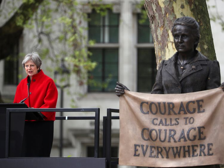 Theresa May speaks at the unveiling of the statue of suffragist Millicent Fawcett on Parliament Square