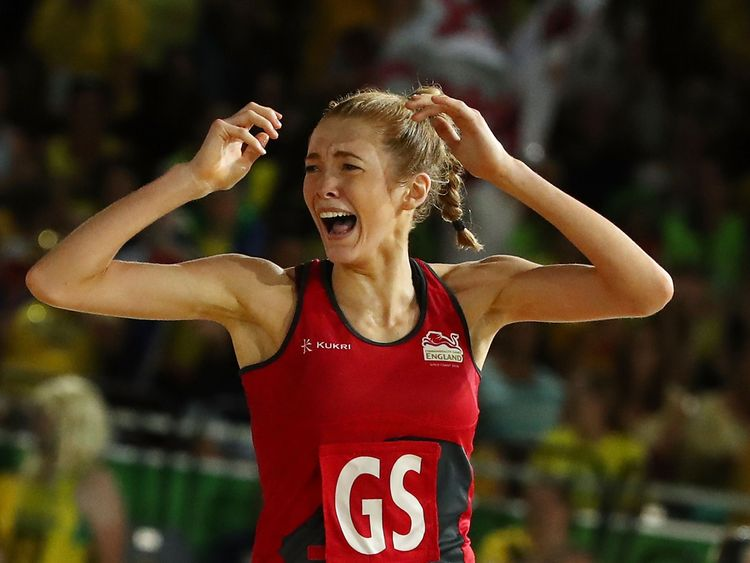 England's Helen Housby is jubilant after scoring the winning goal in the last second